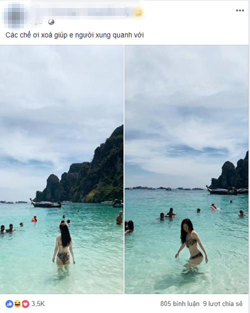 Cô gái diện bikini nóng bỏng lên mạng nhờ chỉnh sửa ảnh theo style biển vắng mình em.