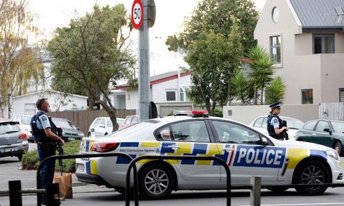 Cảnh sát New Zealand canh gác tại hiện trường vụ xả súng. Ảnh: AFP.