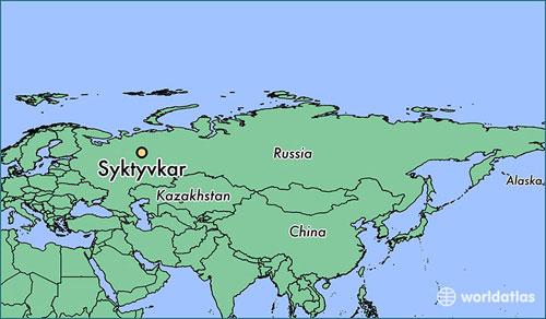 Vị trí khu vực Syktyvkar ở phía bắc nước Nga. Đồ họa