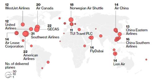 Số máy bay Boeing 737 MAX của các hãng hàng không trên toàn cầu. Đồ hoạ: Boeing.