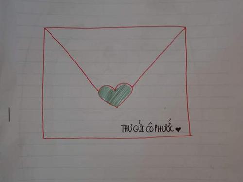 Bức thư mở đầu bằng hình vẽ trái tím rất ấn tượng.