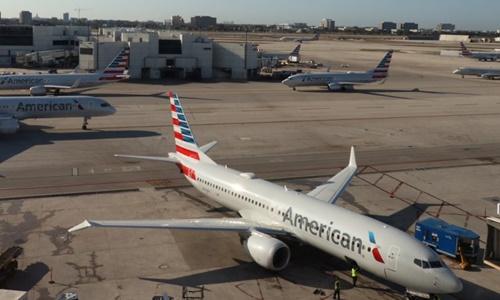 Máy bay American Airlines tại Miami ngày 3/2. Ảnh: AFP.