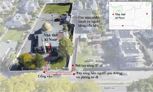 Đường đi của tay súng khi tấn công nhà thờ Al Noor. Đồ họa: Guardian.