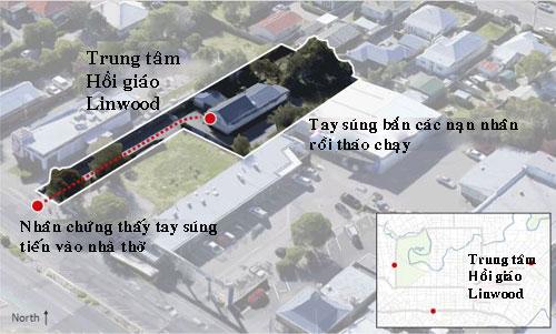 Diễn biến vụ xả súng ở Trung tâm Hồi giáo Linwood. Đồ họa: Guardian.