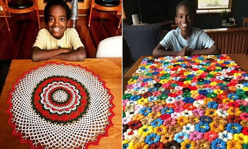 Jonah Larson học đan móc từ 5 tuổi. Ảnh: Instagram