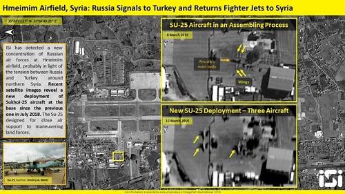 Ảnh vệ tinh của Israel cho thấy Su-25 đang đậu tại sân bay Hmeymim. Ảnh: IMS.