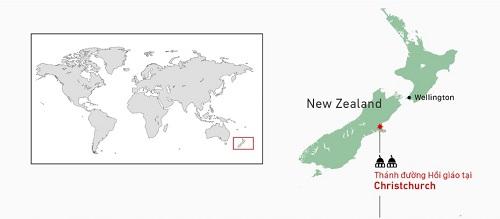 Vị trí hai nhà thờ trong vụ xả súng ở New Zealand. Đồ họa: Việt Chung. (Bấm vào hình để xem chi tiết).