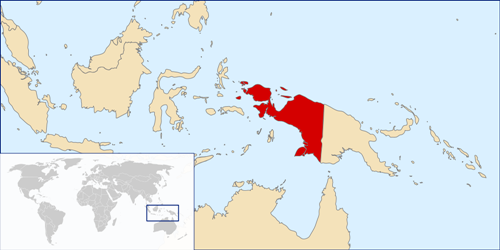 Vị trí tỉnh Papua (màu đỏ) ở Indonesia. Ảnh: West Papua.