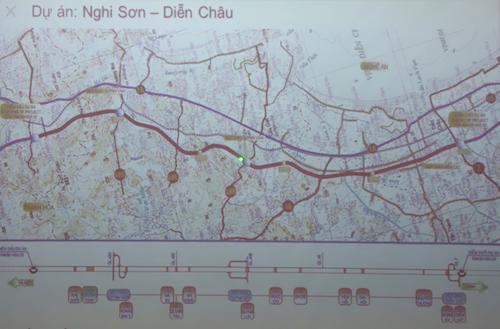 Sơ đồ tuyến cao tốc đoạn Nghi Sơn (Thanh Hóa) - Diễn Châu (Nghệ An).