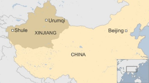 Vị trí khu tự trị Tân Cương (Xinjiang)của Trung Quốc. Đồ họa: BBC.