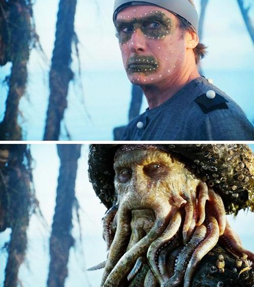 Davy Jones đời thực và trong phim Cướp biển vùng Caribbean.