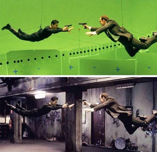 Cảnh bay người bắn nhau trong phim Ma Trận.
