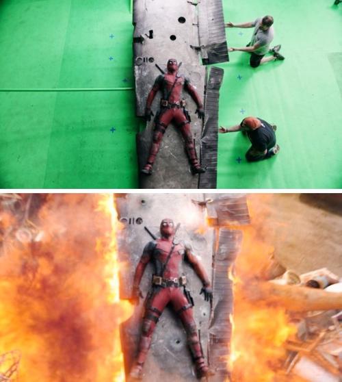 Một cảnh cháy nổ trong phim Deadpool trước và sau khi dùng kỹ xảo.