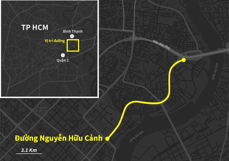 Đường Nguyễn Hữu Cảnh nối quận 1 và Bình Thạnh. Ảnh: Khánh Hoàng.