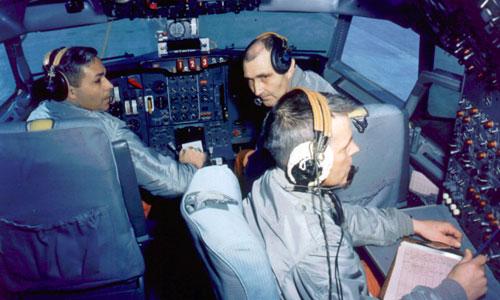 Những phi công thử nghiệm máy bay 727 đầu tiên của Boeing. Ảnh: Boeing.