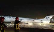 Máy bay Iran mài thân xuống đường băng, bốc cháy
