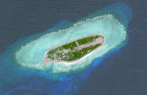 Đảo Ba Bình, thuộc quần đảo Trường Sa của Việt Nam nhìn từ vệ tinh. Ảnh: Google Maps.