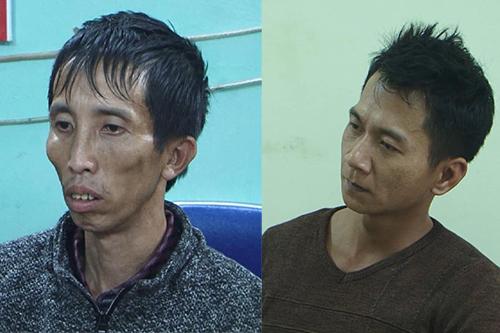Bùi Văn Công (trái) và Vương Văn Hùng tại cơ quan điều tra. Ảnh: Công an Điện Biên.
