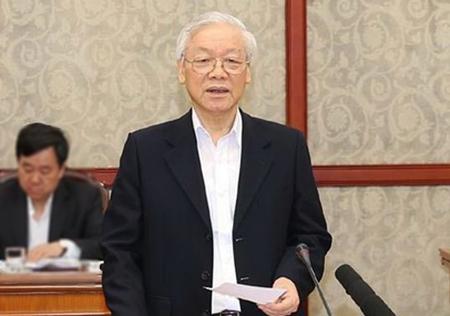 Tổng bí thư Nguyễn Phú Trọng phát biểu tại cuộc họp của Bộ chính trị sáng 21/3. Ảnh: TTX