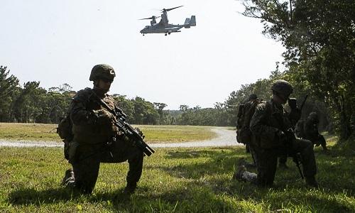 Cuộc diễn tập có sự tham gia của cả dòng trực thăng MV-22 Osprey. Ảnh: BI.