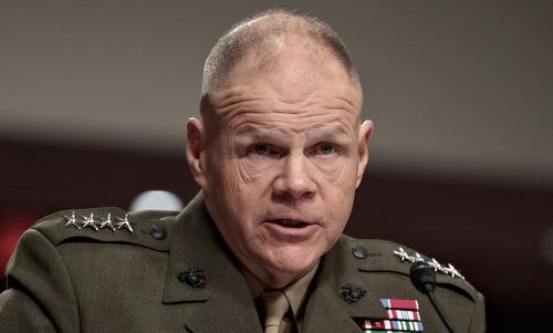 Tướng Robert Neller trong cuộc điều trần trước quốc hội Mỹ năm 2017. Ảnh: AFP.