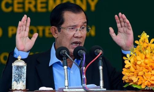 Thủ tướng Campuchia Hun Sen trong lễ khởi công hôm nay. Ảnh: AFP.