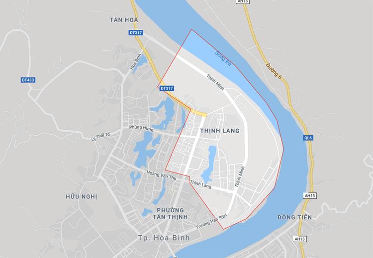 Khoanh màu đỏ là phường Thịnh Lang, TP Hòa Bình, tỉnh Hòa Bình. Ảnh: Gmap.