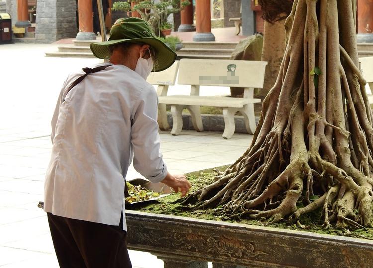 Trong chùa có hàng trăm người làm không công, chuyên dọn dẹp vệ sinh, chăm sóc các tiểu cảnh. Ảnh: Minh Cương.