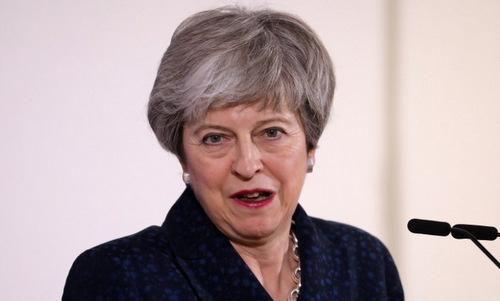 Thủ tướng May trong cuộc họp báo về Brexit hôm 21/3. Ảnh: AFP.