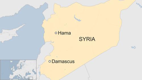 Vị trí thành phố Hama, thủ phủ tỉnh Hama. Đồ họa: BBC.