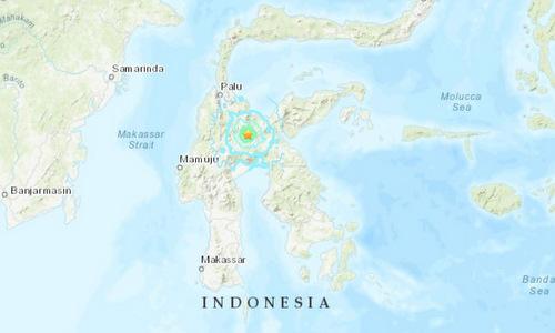 Vị trí tâm chấn của trận động đất sáng 24/3. Đồ họa: USGS.
