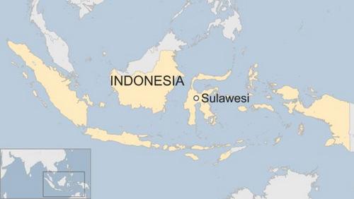 Vị trí đảo Sulawesi của Indonesia. Đồ họa: BBC.