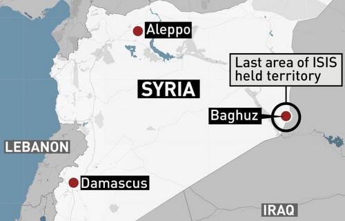 Vị trí làng Baghouz ở Syria. Đồ họa: CBC.