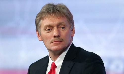 Phát ngôn viên Peskov trong một cuộc họp báo năm 2018. Ảnh: TASS.