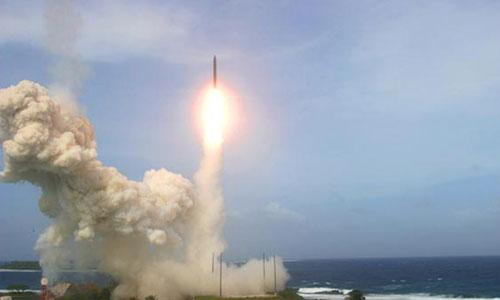 Một vụ phóng thử đạn đánh chặn từ hệ thống GMD của Mỹ. Ảnh: MDA.