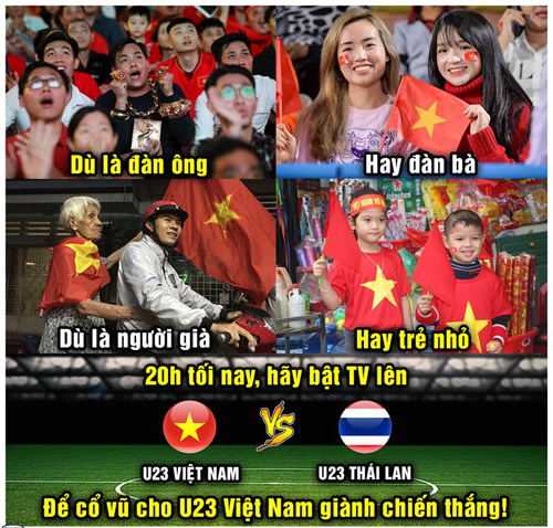 Mọi người đều hướng về U23 Việt Nam.