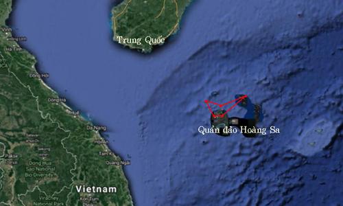 Khu vực luyện tập trên quần đảo Hoàng Sa. Ảnh: Google Maps.