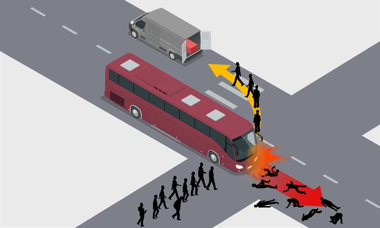 Xe khách đâm vào đoàn người đưa đám ma sáng 27/3. Đồ họa: Việt Chung