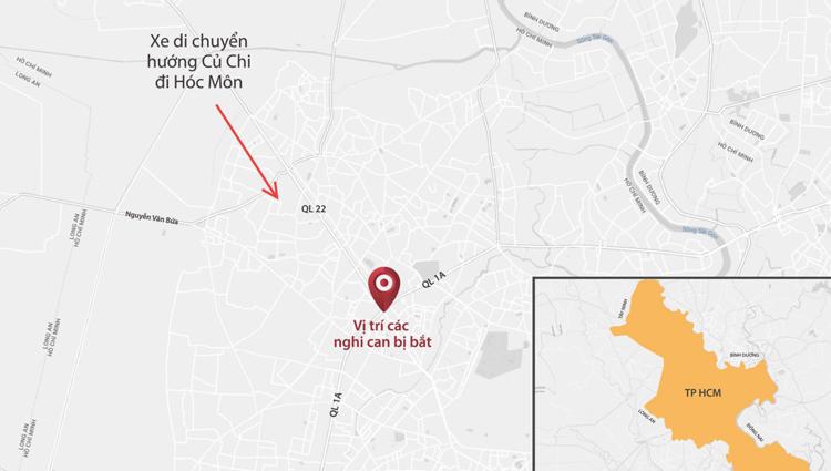 Cảnh sát bắt giữ nhóm nghi can tại khu vực ngã tư An Sương. Graphic: Lê Huyền