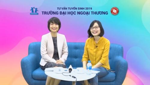 TS Phạm Thu Hương - Trưởng phòng Đào tạo trường Đại học Ngoại thương (trái)tham gia buổi chia sẻ trong chương trình Tư vấn Tuyển sinh năm 2019
