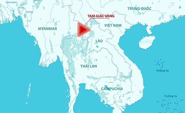 Vị trí Việt Nam với khu Tam Giác Vàng. Đồ họa: Hoàng Khánh.