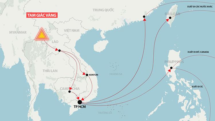 Ma tuý từ Tam Giác Vàng được đưa đến TP HCM. Đồ hoạ: Hoàng Khánh.