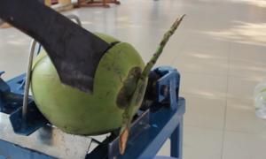Học sinh miền Tây chế máy cắt dừa tươi