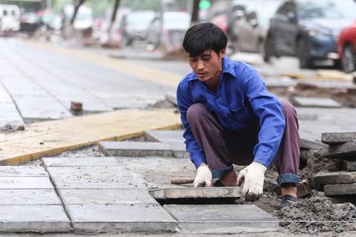 Công nhân lát vỉa hè trên đường Trần Đăng Ninh. Ảnh:Gia Chính