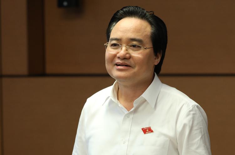 Bộ trưởng Phùng Xuân Nhạ giải trình, tiếp thu luật Giáo dục sửa đổi tại Hội nghị đại biểu Quốc hội chuyên trách sáng 4/4. Ảnh: HT