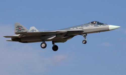 Tiêm kích Su-57 Nga bay thử đầu năm 2019. Ảnh: Russian Planes.