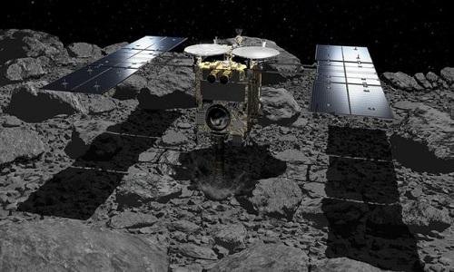 Tàu Hayabusa-2 đang thăm dò tiểu hành tinh Ryugu. Ảnh: JAXA.