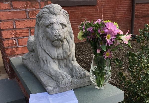 Hai tên trộm trả lại bức tượng sư tử kèm theo thư xin lỗi và bó hoa. Ảnh: CBS3.