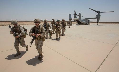 Lực lượng dưới quyền Bộ tư lệnh Trung tâm triển khai tại Iraq năm 2018. Ảnh: Lầu Năm Góc.