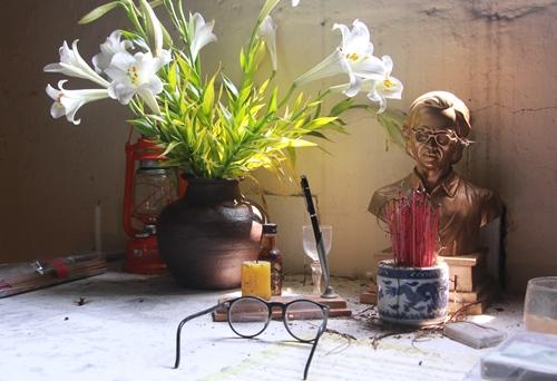 Chân dung cố nhạc sĩ Trịnh Công Sơn được thờ tại gác Trịnh. Ảnh: Võ Thạnh